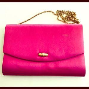 Hot Pink Satin Purse w/Gold Chain Shoulder Strap